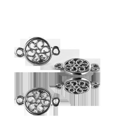Metalen filigrain tussenzetsel hanger met 2 oogjes 20mm oudzilver