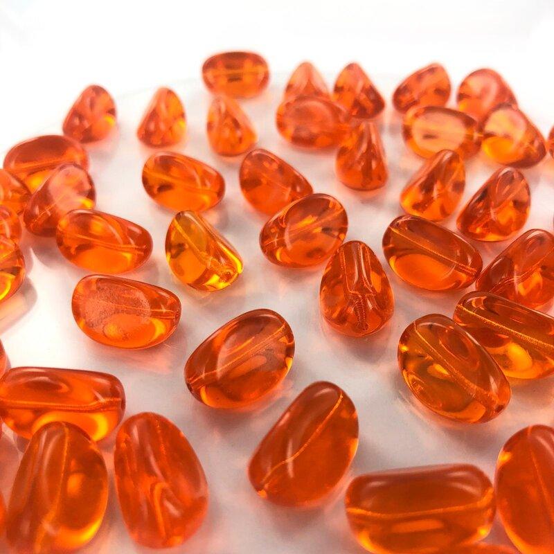 Mooie glaskralen ovaal met vlakke kanten 17mm oranje