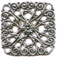 filigrain ornament 23mm oudzilver vierkant metaal