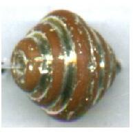 ribbelkralen 9mm bruin konisch glas