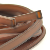 rijgsnoer 10mm bruin rechthoek kunststof