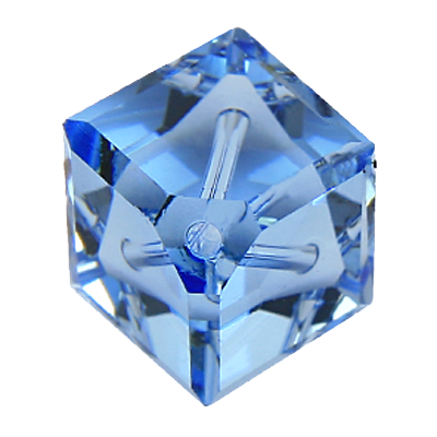 Swarovski kralen 8mm blauw blokje