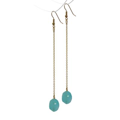 Simpele oorbellen goud turquoise ketting