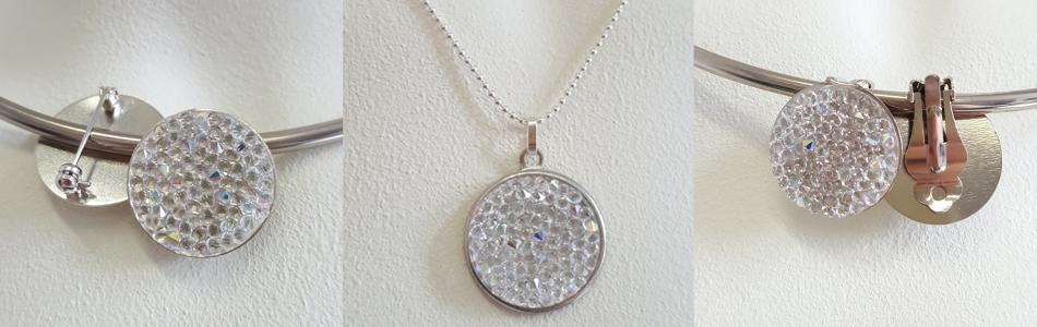 Swarovski sieraden zilver crystal rocks broche oorbellen hanger ketting
